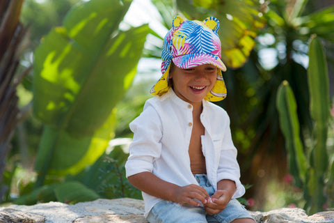 Little Hotdog Watson feature their tropical leaf print kids hat in latest blog