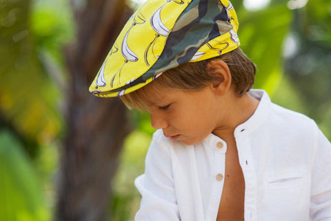 Little Hotdog Watson feature their explorer kids hat in banana print