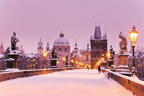 Prague Charles Bridge in Winter with Snow