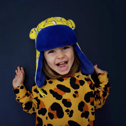 Kid Wearing Banana Split Winter Print Hat