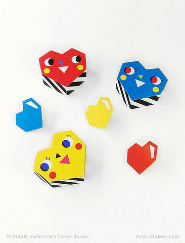 Mr Printable Free Kids Paper Party Love Heart Favour Boxes