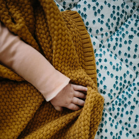 Baby mustard knitted blanket