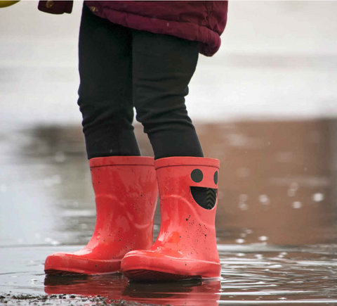 Child in muddy puddles wearing red wellies