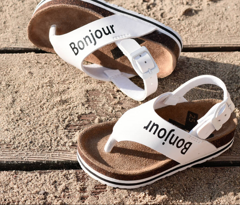 Boxbo white 'Bonjour' printed kids sandals