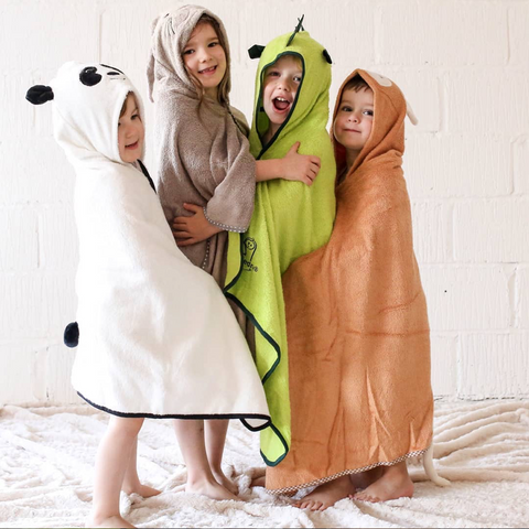 Children wearing Cuddledry bamboo animal bath towels