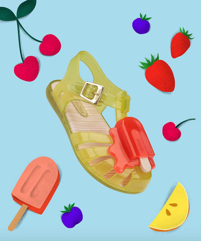 Kids yellow jelly sandal from Mini Melissa