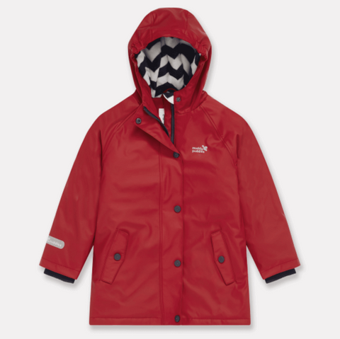 Kids red rain jacket by Muddy Puddles