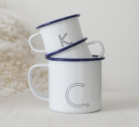 Monogram enamel mugs