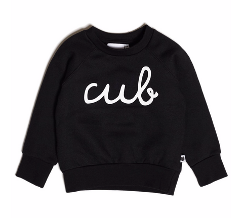 Black kids sweatshirt with cub written on the front in white text