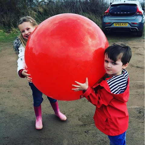 Children holiding beach ball on Little Hotdog Watson kids sibling blog