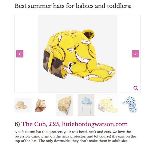 Image of Banana Split Cub Sun hat as featured in Mother and Baby Magazine article