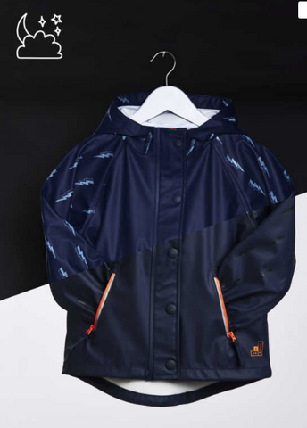 Colour changing kids raincoat in navy