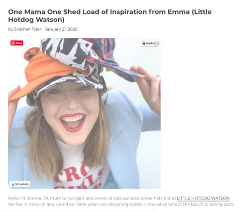 Emma Watson owner of Little Hotdog Watson wearing adults sun hats