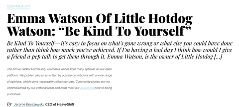 Image of text from Authority Magazine interview with Little Hotdog Watson