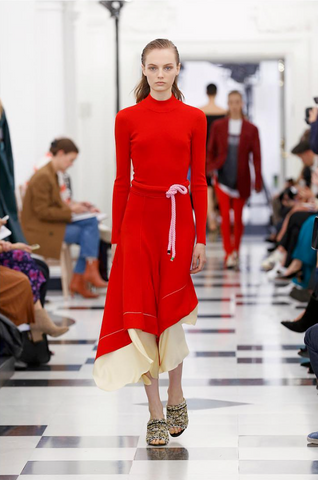 Model wearing SS19 Victoria Beckham clothing Instagram featuring in Little Hotdog Watson London Fashion Week blog