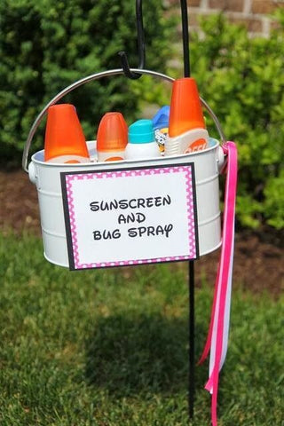 Kids Bug and Sun Cream station for garden summer parties on Little Hotdog Watson blog