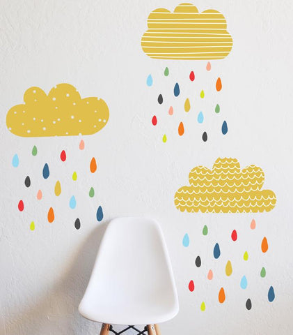 Cloud sticker raining multi colour drops as featured on Little Hotdog Watson blog