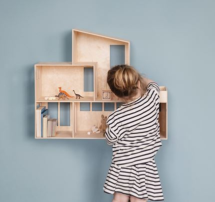 Wooden House Shaped Shelf by Ferm Living featured on the blog of Little Hotdog Watson