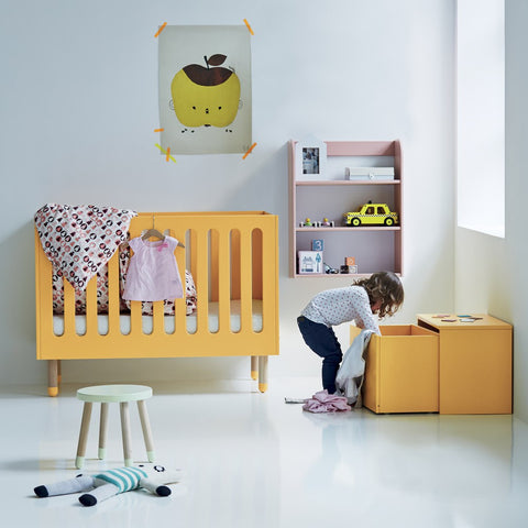 Yellow cot in baby's bedroom as featured on Little Hotdog Watson blog