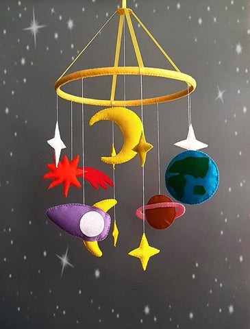 Space theme baby mobile for above cot as featured on Little Hotdog Watson blog