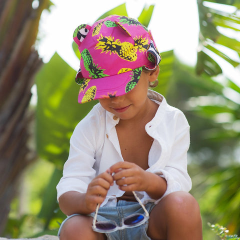 LHW pineapple punch print pink summer hat lifestyle shot