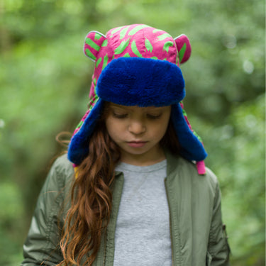 Girl wearing Little Hotdog Watson Arctic Winter Hat in Tiger Pink Print