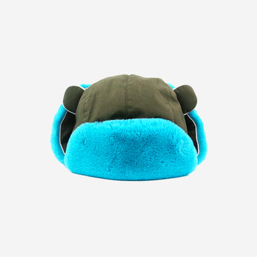 Watson Adults Khaki Turquoise winter hat Front View Flaps Up
