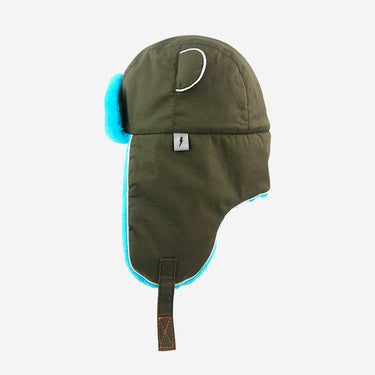 Watson Adults Khaki Turquoise winter hat Side View
