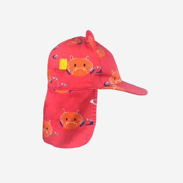 Childrens baseball cub sun hat in Hip Pink product side view with flap down