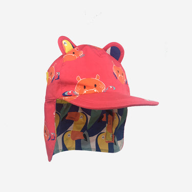 Childrens baseball cub sun hat in Hip Pink product front view with flap down