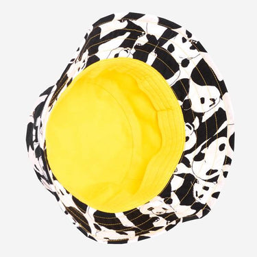 Inside image with yellow lining of Panda Pop print hat Adventurer sunhat from Little Hotdog Watson