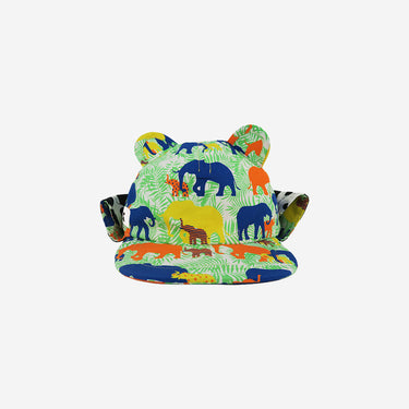 Front view of elephant print Little Hotdog Watson kids sun hat