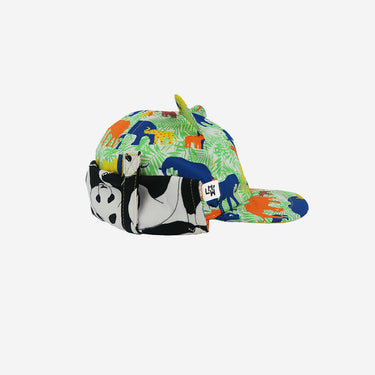 Side view of elephant print Little Hotdog Watson kids sun hat