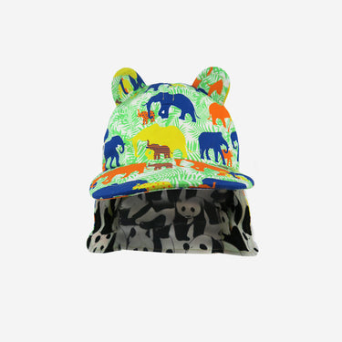 Front view with neck flap down of elephant print Little Hotdog Watson kids sun hat
