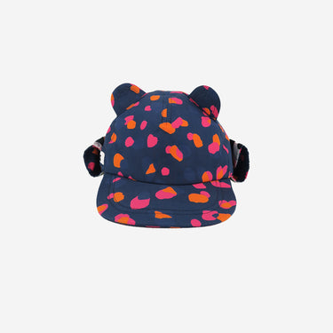 Front view of kids sun hat in navy blue leopard print from Little Hotdog Watson