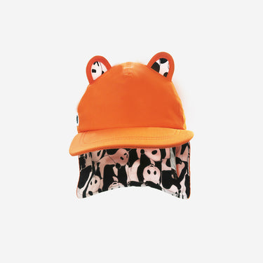 Front view of Little Hotdog Watson adults orange sun hat with neck flap