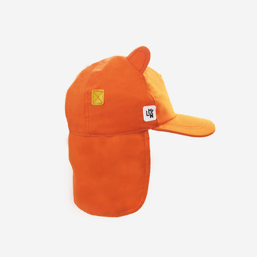 Side view of kids sun hat with neck flap in orange from Little Hotdog Watson