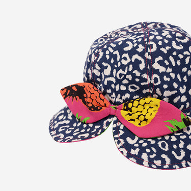 Close Up View of bow at back of Little Hotdog Watson kids floppy bonnet sun hat in Leopardtude