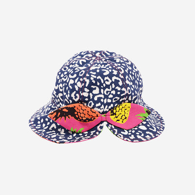 Back view of Little Hotdog Watson kids floppy bonnet sun hat in Leopardtude