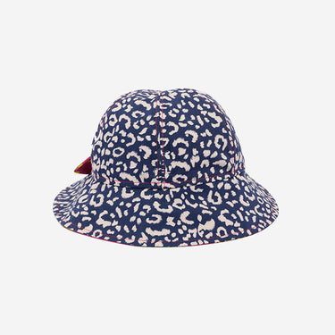 Front view of Little Hotdog Watson kids floppy bonnet sun hat in Leopardtude