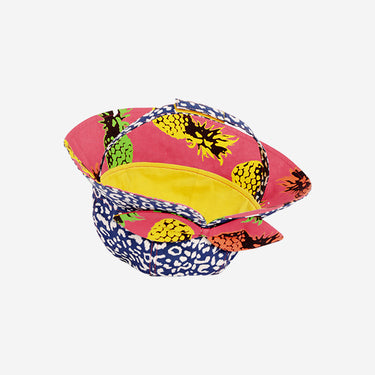 Inside view of Little Hotdog Watson kids floppy bonnet sun hat in Leopardtude