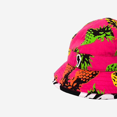 Close up side view of Little Hotdog Watson kids cub sun hat in Pineapple Punch