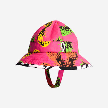 Side view of Little Hotdog Watson kids floppy sun hat with chinstrap