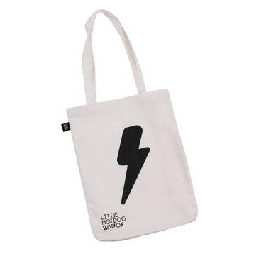 White cotton shopper bag with long handles