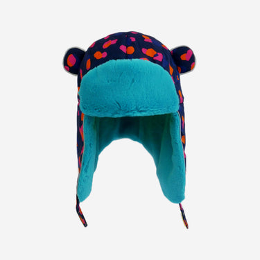 spot print blue fur trapper adults hat from Little Hotdog Watson