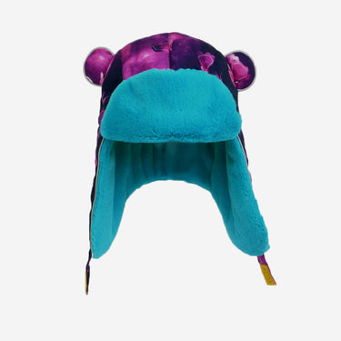 space bunny print blue fur trapper kids hat from Little Hotdog Watson