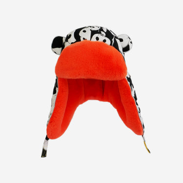 panda print red fur trapper kids hat from Little Hotdog Watson