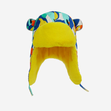 toucan print yellow fur trapper kids hat from Little Hotdog Watson