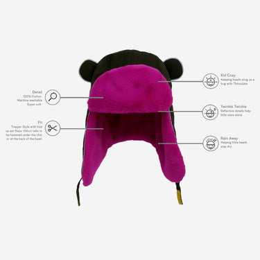 Technical diagram of Khaki pink fur trapper hat