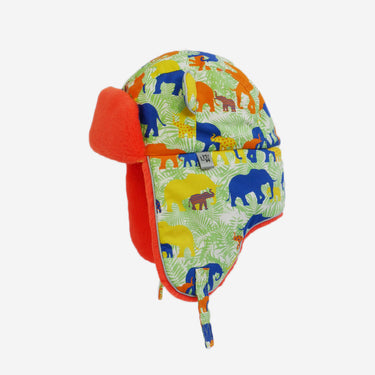 flat lay of elephant print arctic cub kids hat